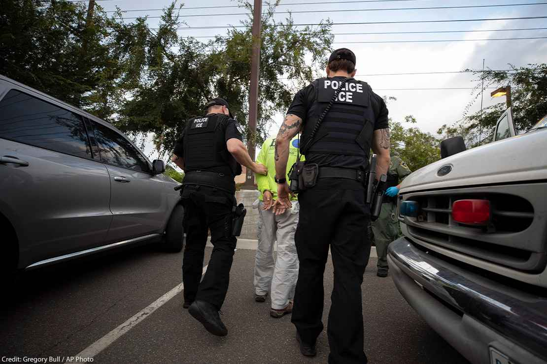 On a sunny day in California, two Immigration and Customs Enforcement (ICE) officers escort a man in handcuffs. Trump administration officials have confirmed plans for two new tactics in their anti-immigrant agenda.