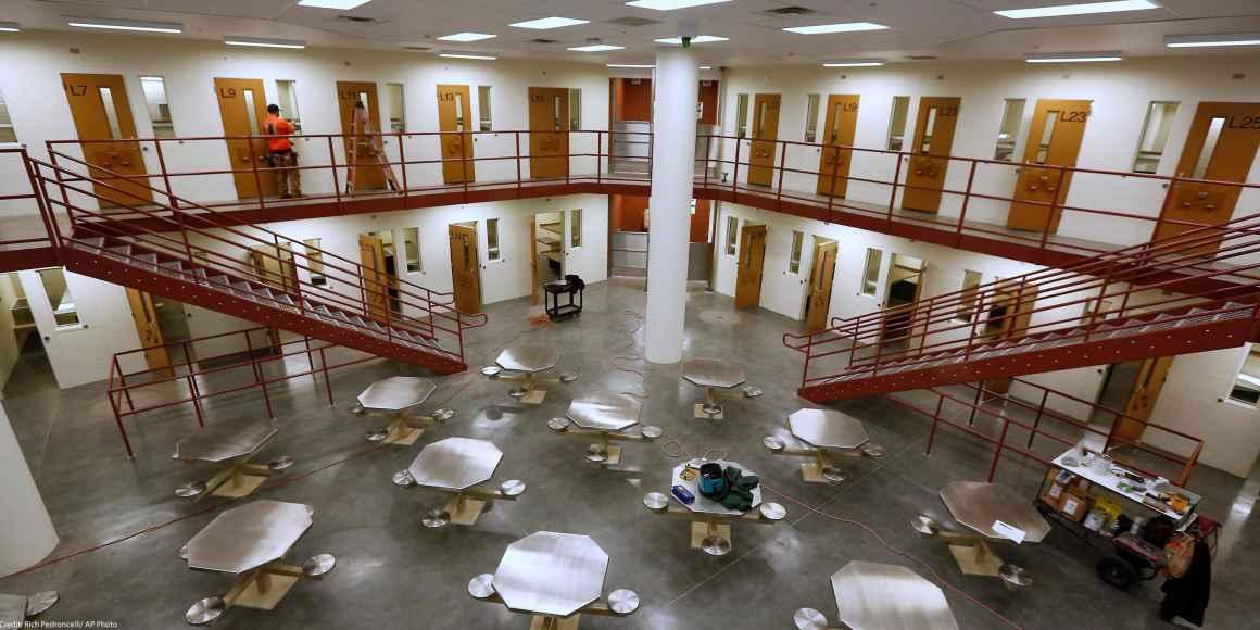 Inmate housing area in a California prison.
