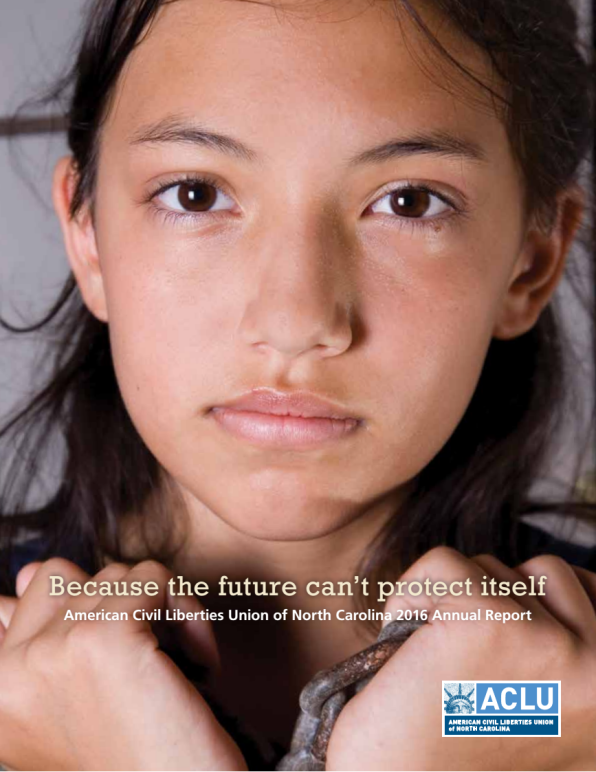 "Photo of young girl in handcuffs with the subtitle: ""Because the future can't protect itself"""