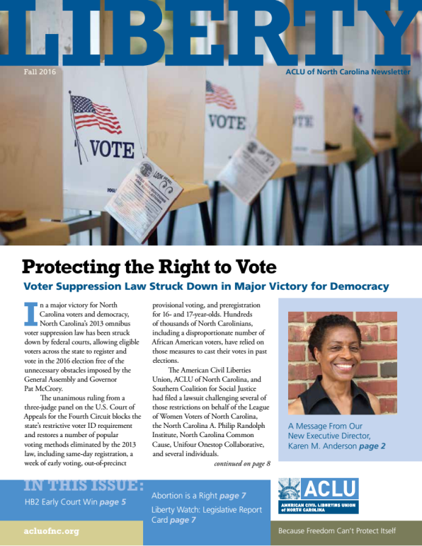 Cover of the newsletter with a featured article on protecting voting rights