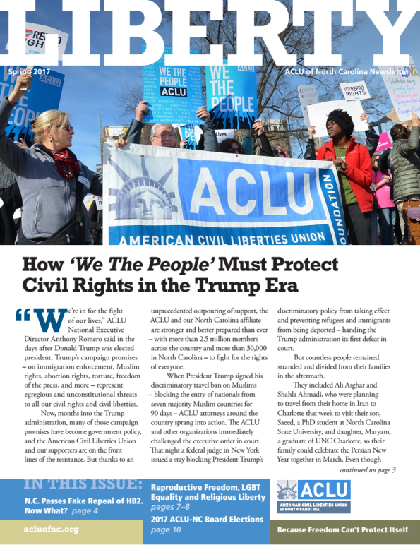 Cover of the newsletter with a featured article on protecting civil rights in the Trump era