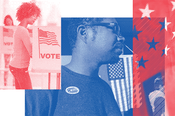 """Image showing a woman in a voting booth and a man with an """"I voted"""" sticker"""