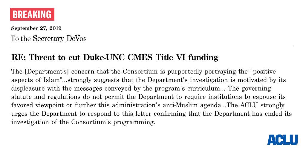 ACLU of North Carolina Demand Letter