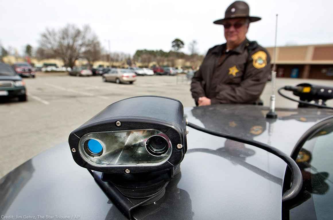 Licence on a police car