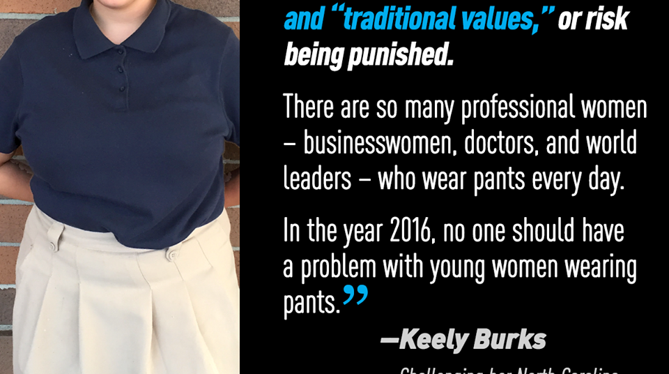 8590b8492e ... the ACLU of North Carolina, and the law firm of Ellis and Winters LLP  successfully challenged a K-8 public charter school's dress code that  required ...