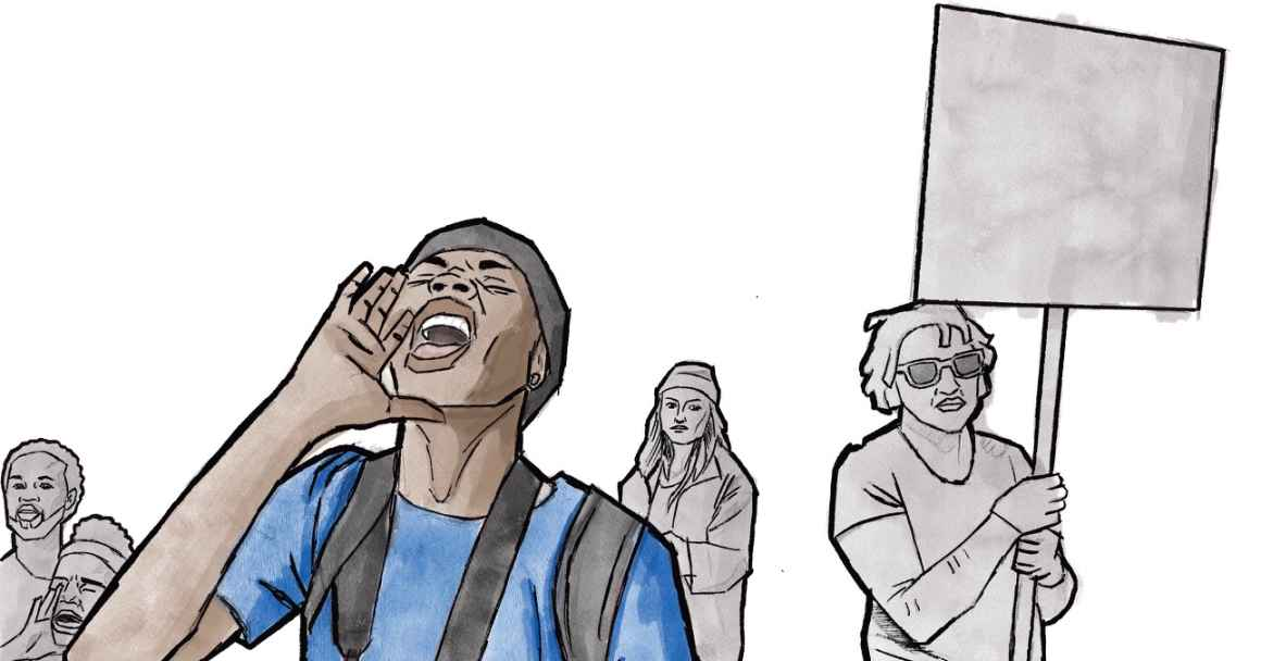Illustration of young people at a protest